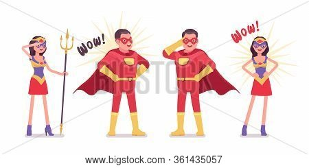 Male, Female Super Hero Wearing Red Costume, Stand In Attractive Poses. Effective Man, Woman Warrior
