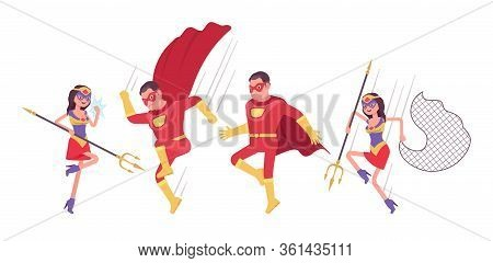 Male, Female Super Hero With Weapons Wearing Costume, Jumping In Attack. Effective Man, Woman Warrio