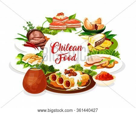 Chilean Cuisine, Authentic South America Restaurant Meals, Vector Menu Cover. Chilean Lunch And Dinn