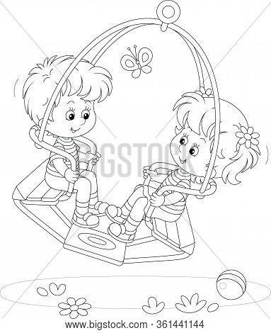 Cheerful Small Children Swinging On A Summer Playground In A Park, Black And White Outlined Vector C