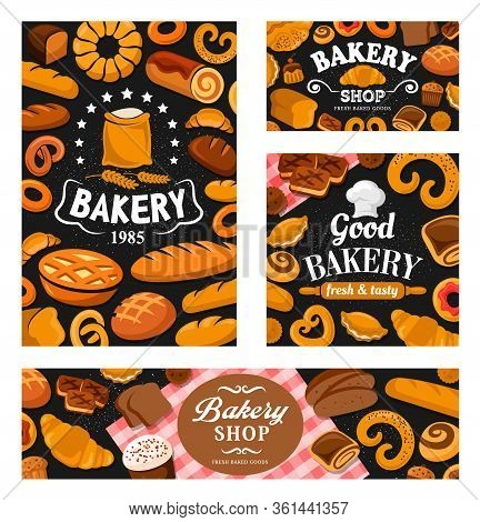 Bakery Shop Bread, Pastry And Desserts, Vector Banners. Baker Chef Toque Hat And Flour Bag, Bakery S