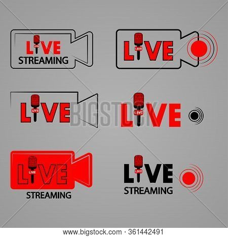 Live Streaming Video Camera. Broadcast. On Air Button. Live Broadcasting Icons Set. Set Of Live Stre