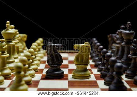 Chess Board With Adverse Knight Facing Each Other