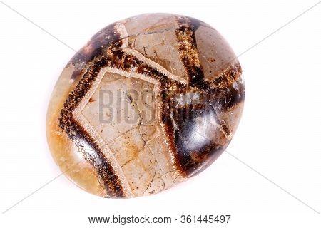 Macro Mineral Stone Simbirzit And Septaria On White Background