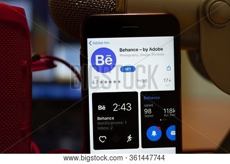 Los Angeles, California, Usa - 16 April 2020: Behance By Adobe Logo On Screen Close Up. App Store Ic