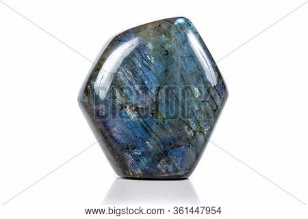 Macro Mineral Stone Labradorite On White Background Close Up