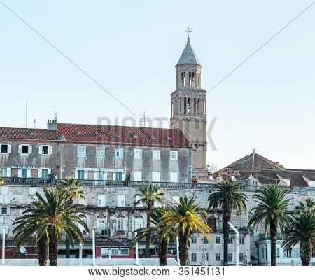 Riviera Of The Town Of Split, Croatia. Green Beautiful Palm Trees On The Shore. Old Belltower Of Sai
