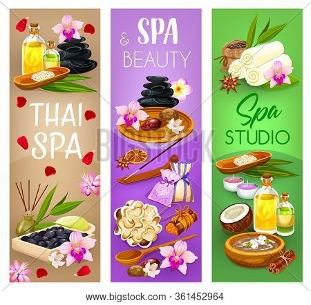 Spa Salon, Massage And Beauty Wellness Vector Banners. Oriental Thai Spa Face And Body Care, Massage