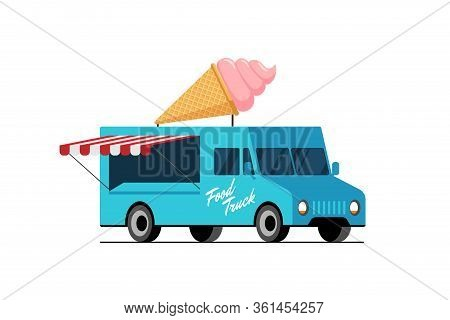 Fast Food Blue Truck. Ice Cream Waffle Cone On Van Roof. Sweet Eskimo Car Delivery Service Or Festiv