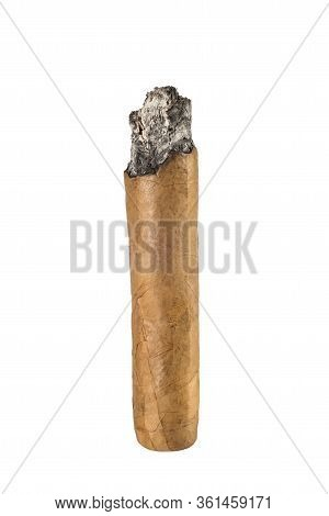 Burnt Cigar Isolated On White Background. Luxury Cuban Cigar.