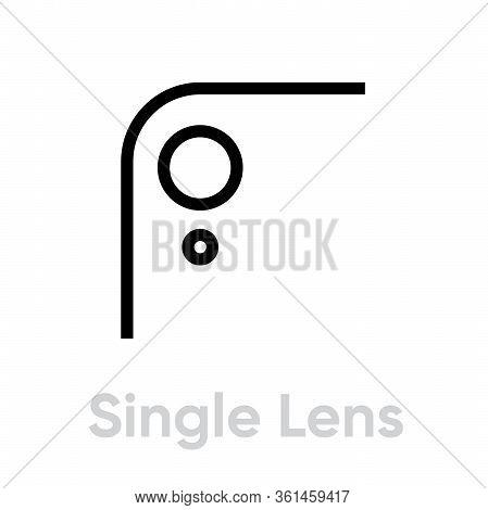 Single Lens Phone Camera Icon. Editable Line Vector.