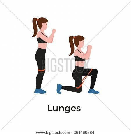 Booty Or Glutes Workout With Resistance Bands. Lunges Concept. Stay Home And Do Sport. Flat Vector C