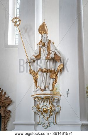 Feb 1, 2020 - Steingaden, Germany: Rococo Style Statue Of Saint Augustin In Wieskirche Pilgraimage C
