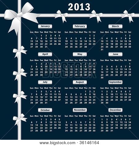 2013 Calendar With Bows