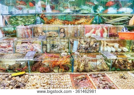 Fish, Lobsters, Crabs And Other Mollusk Seafood Are Crammed Into Fish Tanks At The Seafood Market In
