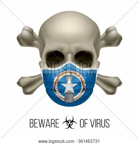 Human Skull And Surgical Mask In The Color Of National Flag Northern Mariana Islands. Mask In Form O