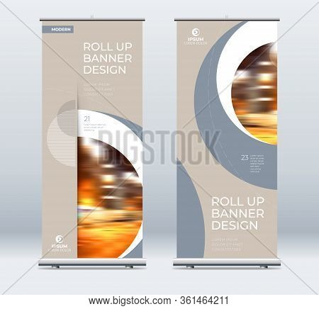 Roll Up Banner Stand Presentation Concept. Corporate Business Roll Up Template Background. Vertical
