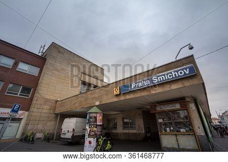 Prague, Czechia - November 3, 2019: Main Entrance Of The Smichov Train Station, Smichovske Nadrazi,
