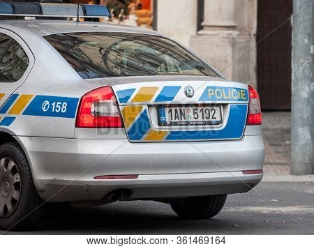 Prague, Czechia - October 31, 2019: Car Vehicle Of The Czech Police In Prague Streets. Also Called P