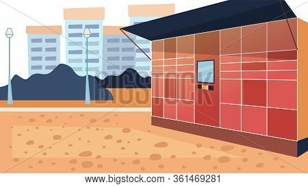 Concept Of Electronic Locker. Safe Possibility Of Pick Up And Send Parcels By Self Service Post Term