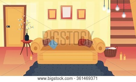 Empty Living Room Interior Concept. Fashion Home Lounge With Stairs, Big Sofa, Furniture And Decorat
