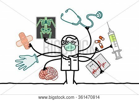 Hand Drawn Multitasking Cartoon Doctor With Many Arms And Medical Objects