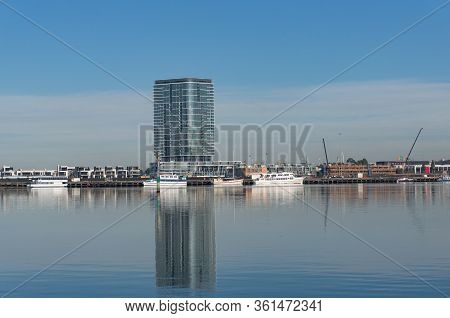 Melbourne, Australia - June 14, 2017: Highrise Waterfront Luxury Apartment Building In Docklands, Me