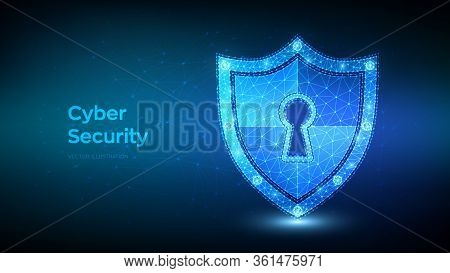 Security Shield. Cyber Security. Shield With Keyhole Icon. Protect And Security Of Safe Concept. Ill