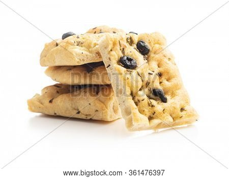 Homemade Italian Focaccia with olives. Traditional Italian pastries isolated on white background.