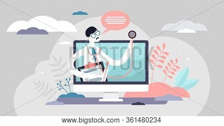 Telemedicine Vector Illustration. Health Service Flat Tiny Persons Concept. Telehealth Medical Suppo