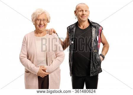 Bald punk standing with an elderly woman isolated on white background