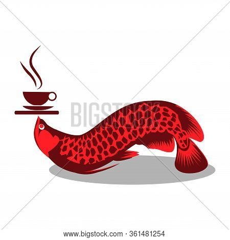 Arowana Fish Carries Hot Coffee Vector. Vector Illustration On White Background