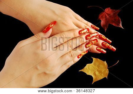 Bright autumnal nail design