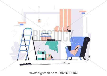 Messy Room With Scattered Stuff Vector Illustration. Living Room And Rubbish Everywhere Flat Style.