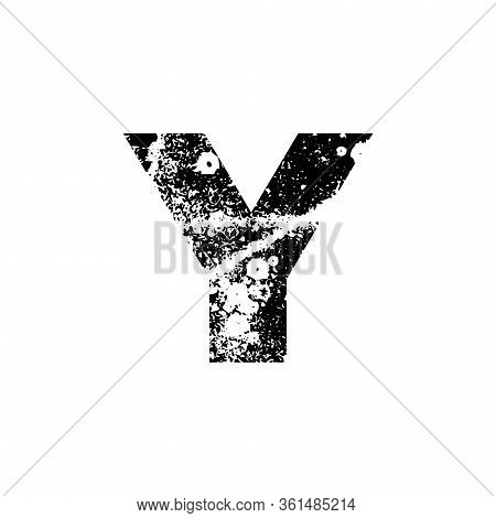 Painted Letter Y. Abstract Handmade Sans Serif Typeface. Distress Textured Font. Ink Splatter Surfac