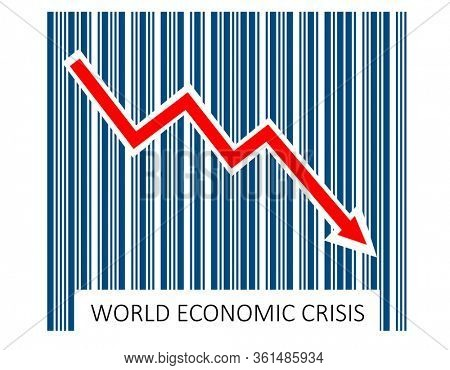 World economic crisis, represented by bar code and arrow