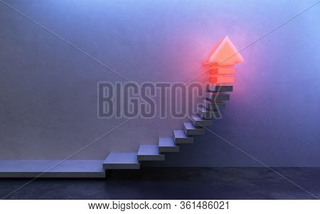 stairs going  upward, 3d rendering