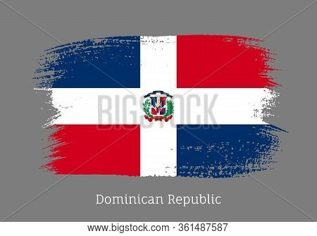 Dominican Republic Official Flag In Shape Of Paintbrush Stroke. National Identity Symbol For Patriot