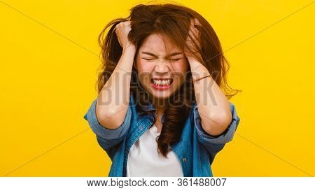 Portrait Of Young Asian Lady With Negative Expression, Excited Screaming, Crying Emotional Angry In