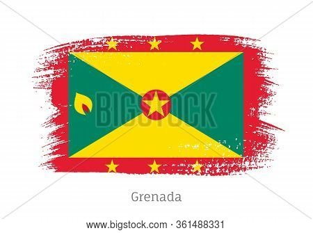 Grenada Caribbean Island Official Flag In Shape Of Paintbrush Stroke. Country National Identity Symb