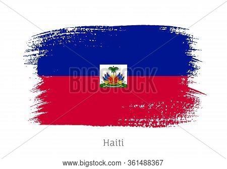 Haiti Caribbean Island Official Flag In Shape Of Paintbrush Stroke. Country National Identity Symbol