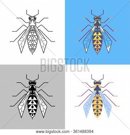 Wasp Outline Icons Set. Hornet Signs For Logo And Web Design, Branding Element Vector Illustration.