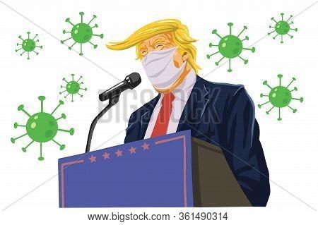 Donald Trump Speech Wearing Anti Corona Virus Coronavirus Covid-19 Campaign Caricature Cartoon Vecto