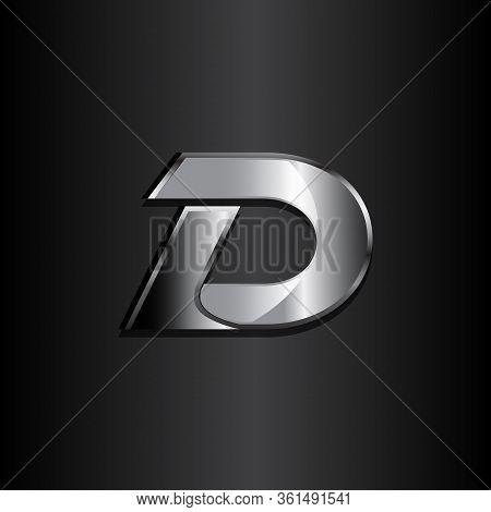 Modern Design Letter D With Color Metal On Black Background. Emblem Design Of Letter D Symbol. Vecto