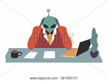 Alien Brainstorming On Business Task, Workplace Of Space Invader
