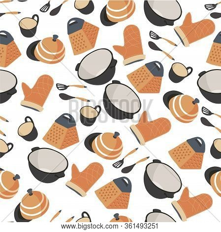 Kitchenware Seamless Pattern, Saucepan With Gloves And Spatula