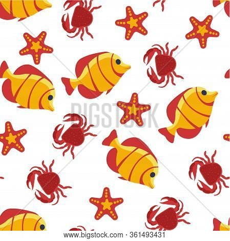Aquatic Creatures, Fish And Crab, Seastar Seamless Pattern