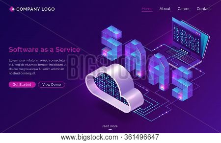 Saas, Software As A Service Isometric Landing Page. Technology For Using Digital Computer Programs V
