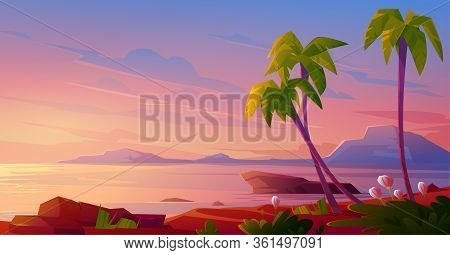 Sunset Or Sunrise On Beach, Tropical Landscape With Palm Trees And Beautiful Flowers On Seaside Unde