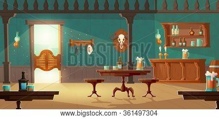 Cowboy Saloon, Western Retro Bar Empty Interior With Wooden Furniture And Stuff, Swing Door, Foamy B